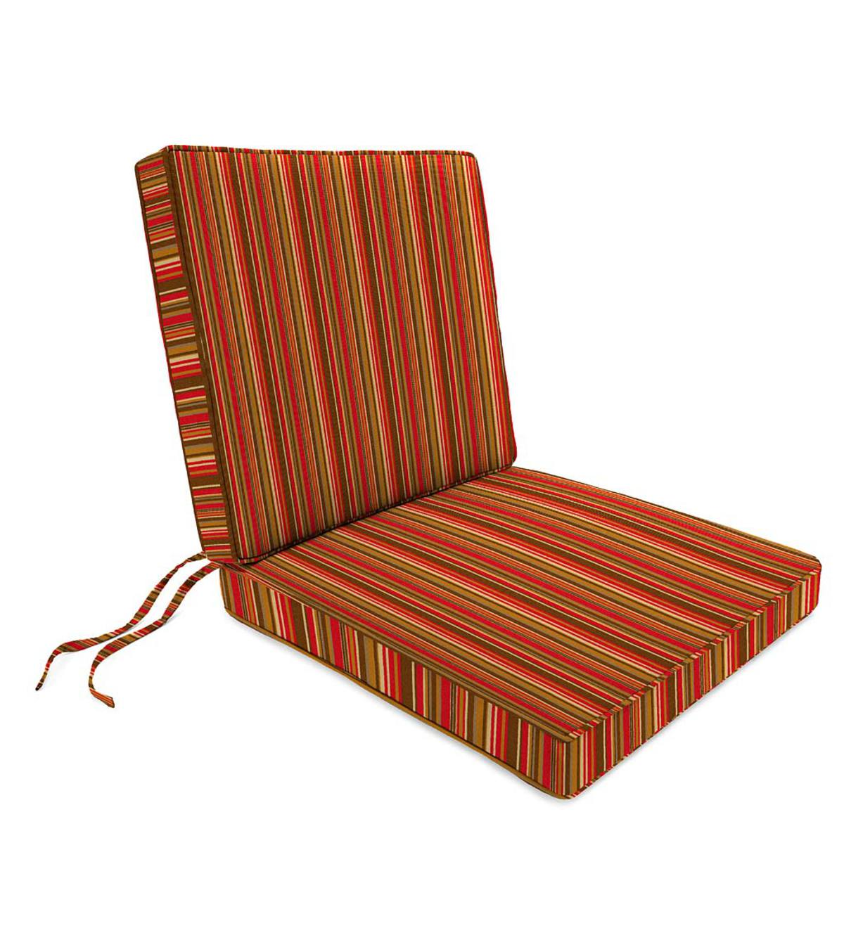 Deluxe Sunbrella Seat And Back Chair Cushion With Tie Seat 19 X 17