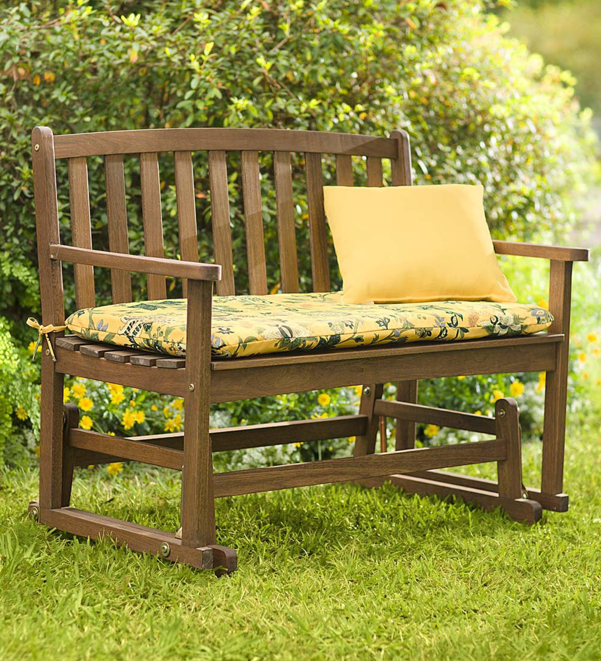 Eucalyptus Wood Love Seat Glider Lancaster Outdoor Furniture Collection Natural Plowhearth
