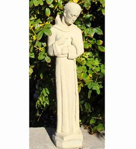 USA-Made Cast Stone Downward Gazing St. Francis Garden Statue
