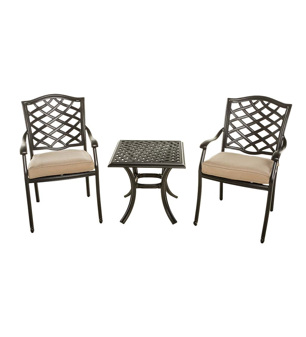 Park Grove Cast Aluminum Outdoor 3-Piece Seating Set with Cushions