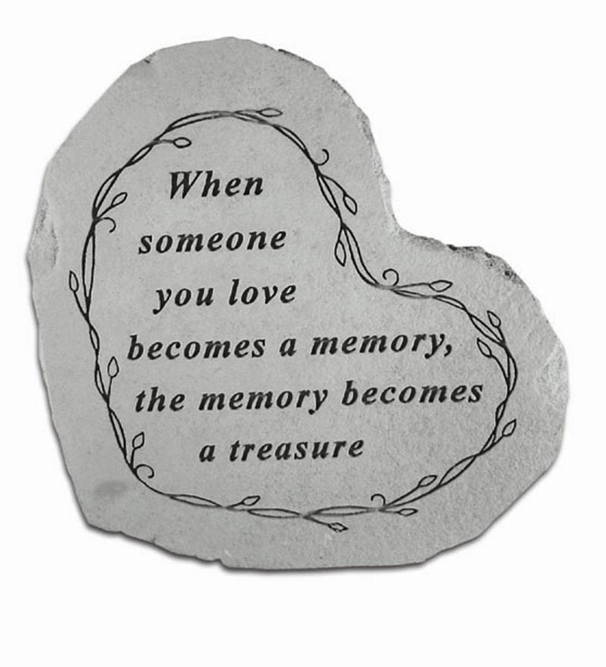 USA-Made Cast Stone Heart Memorial Indoor/Outdoor Plaque