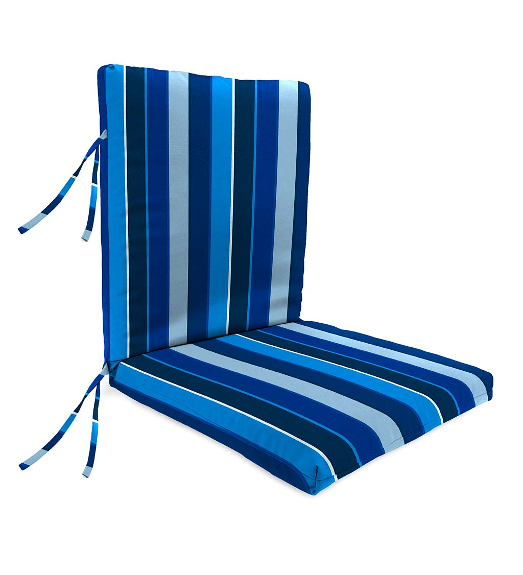 "Sunbrella Classic High Back Chair Cushion With Ties, 46"" x 20"" x 4"" with hinge 19"" from bottom swatch image"