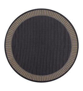 "8'6""round Wicker Style Border Indoor/Outdoor Rug"
