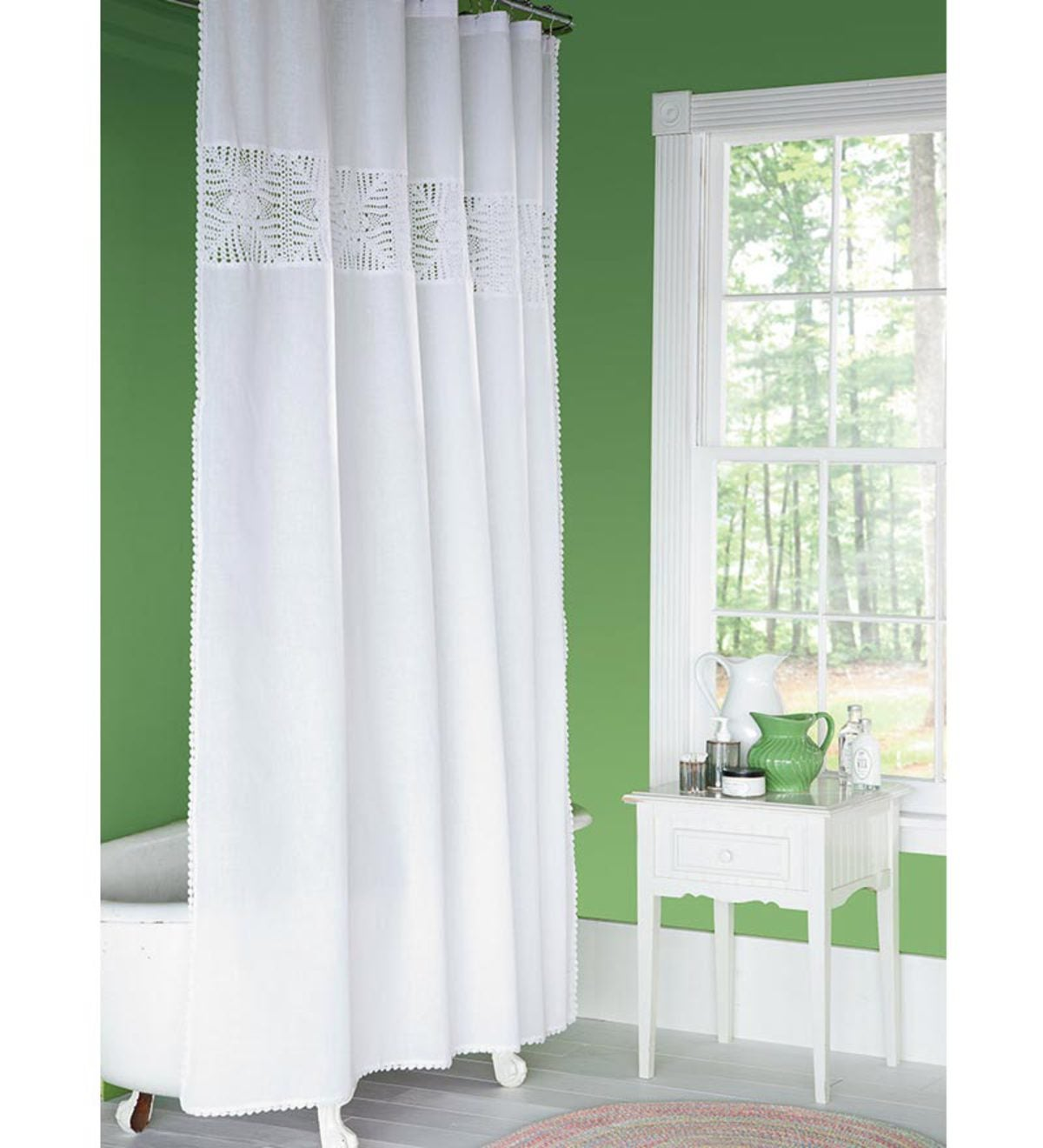 Hand-Crocheted Cotton Shower Curtain - Natural