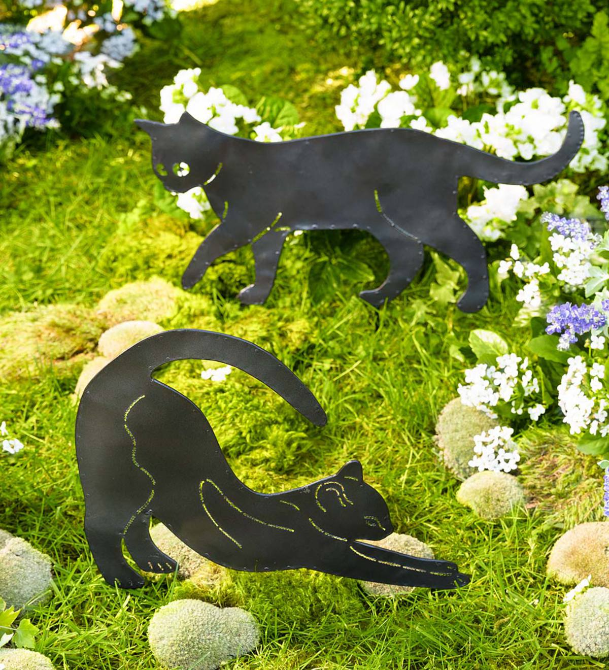 Metal Cat Silhouettes Garden Decor, Set of 8  PlowHearth