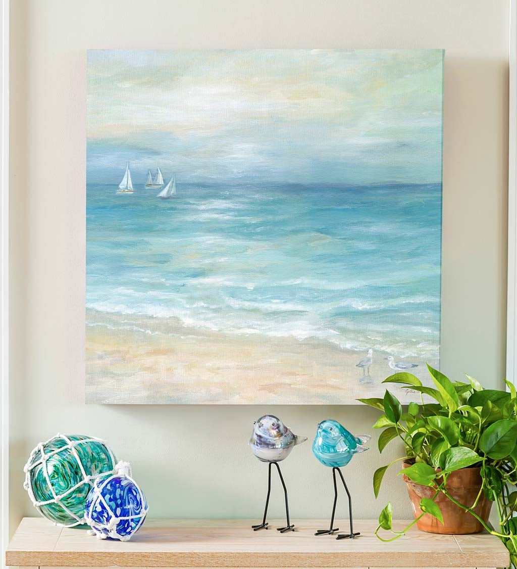 Beach and Boats Canvas Wall Art