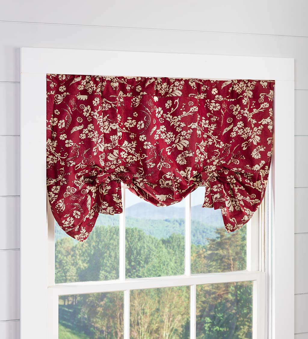 Floral Damask Bow Tie Window Valance
