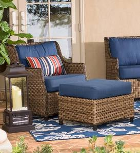 Highland Wicker Outdoor Deep Seating Chair With Ottoman