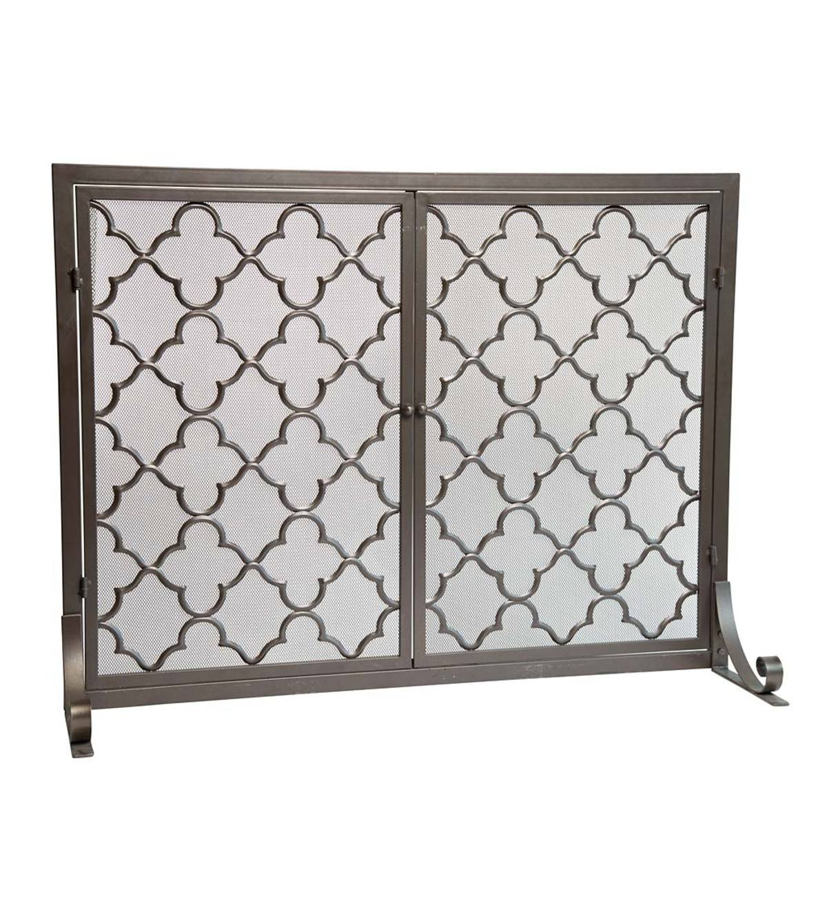 "Small Geometric Screen with Doors, 38""W x 31""H - Bronze"