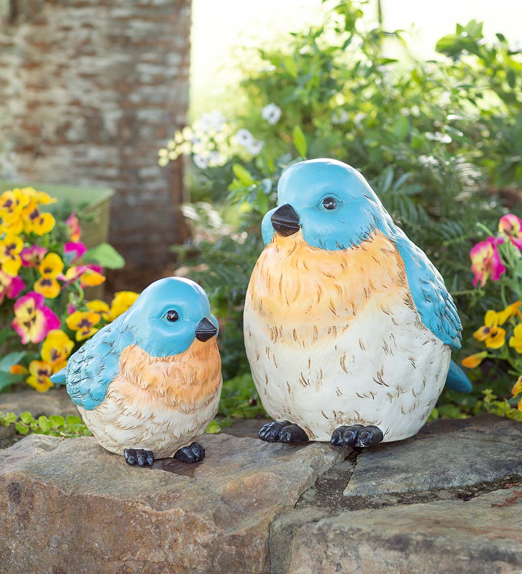 Colorful Oversized Bluebird Garden Statues, Set of 2