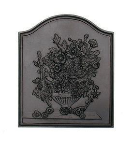 Bouquet Cast Iron Fireplace Fireback In Matte Black Finish