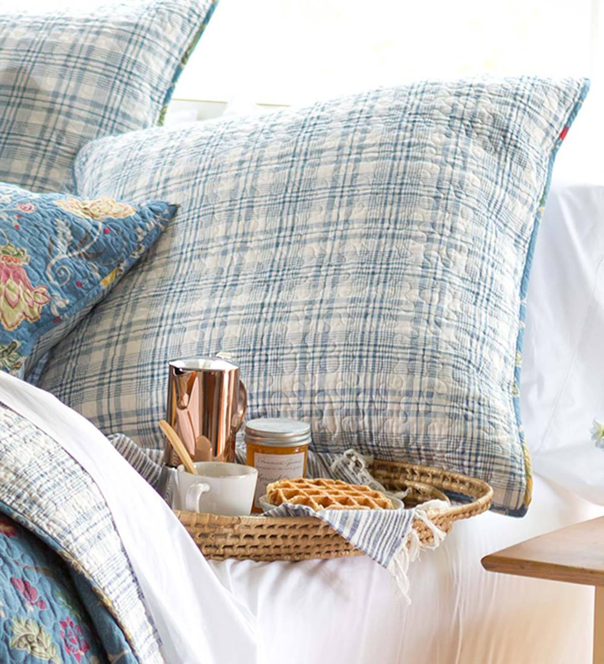 Jenni Plaid Euro Sham - Blue