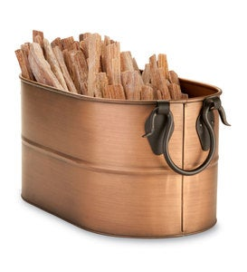 Small Copper Finished Firewood Bucket With 5 lbs. Fatwood