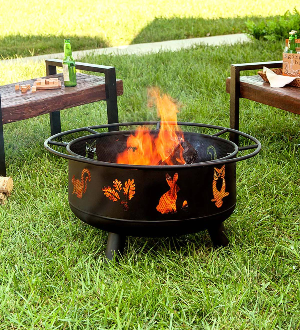 Woodland Animals Wood Burning Fire Pit