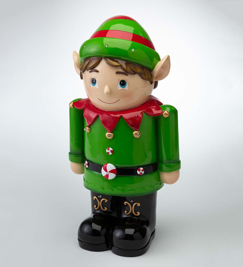 Indoor/Outdoor Lighted Shorty Elf Holiday Statue