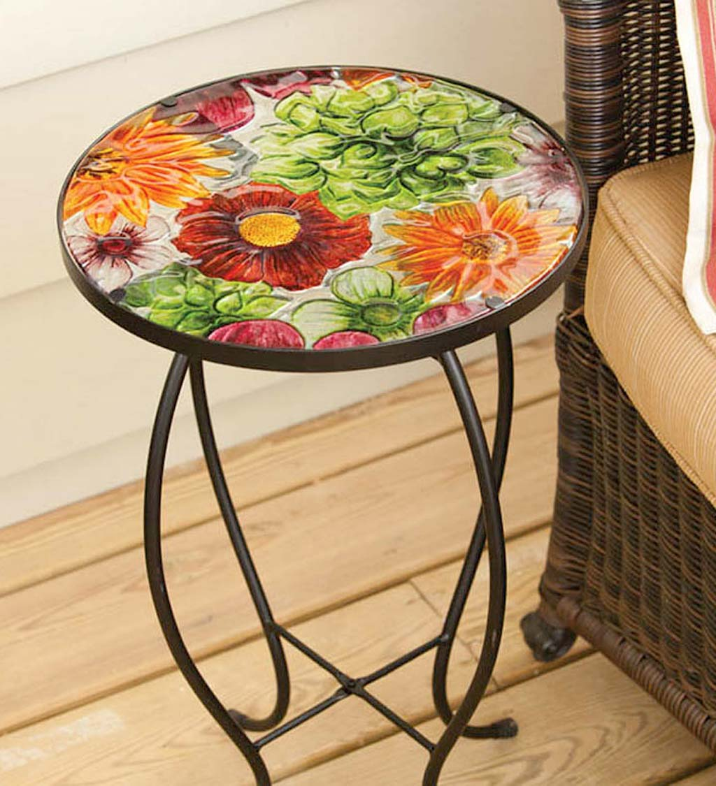 Summer Splash Floral Round Accent Table