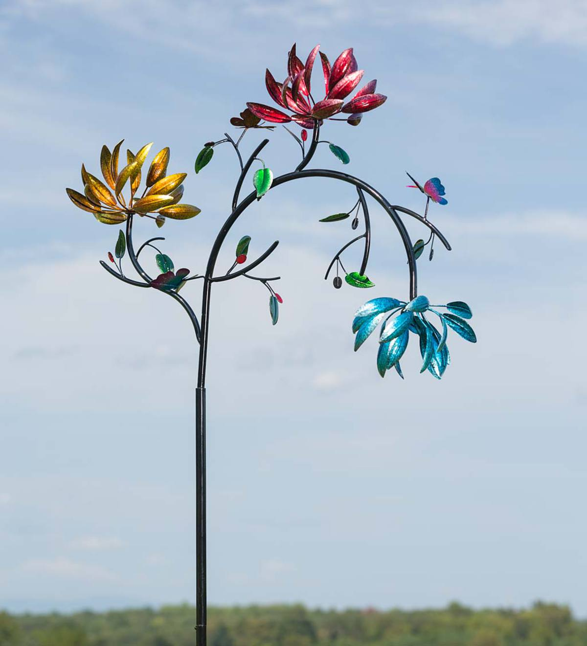 Large Metal Wind Spinner with Three Spinning Flowers and Butterflies