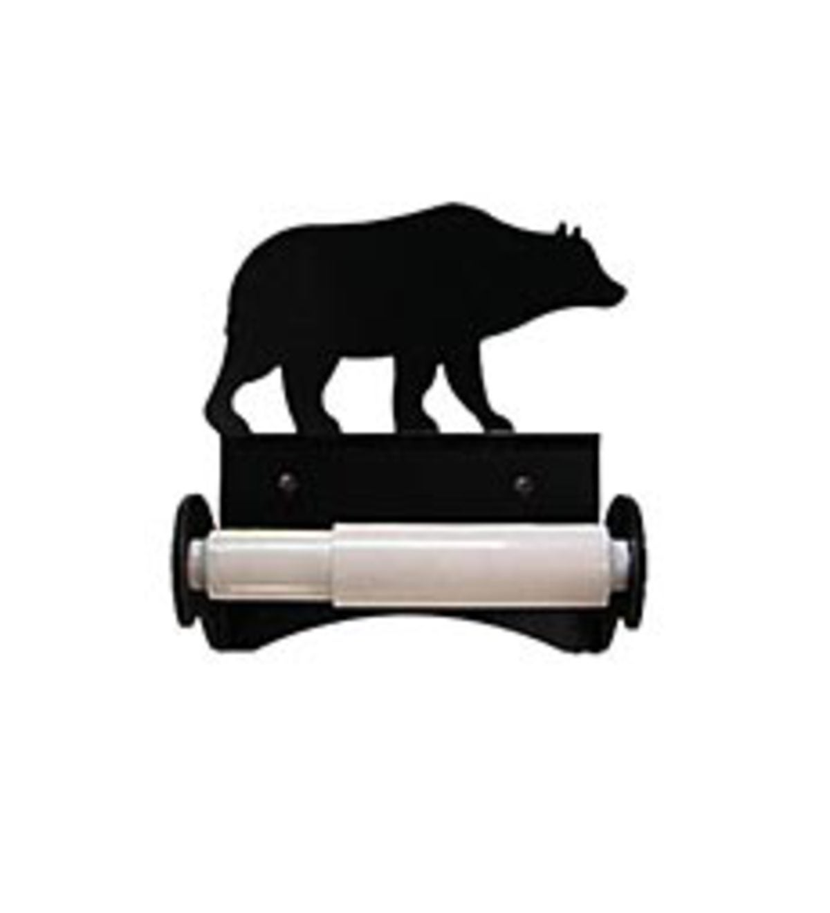 USA-Made Wrought Iron Roller-Style Toilet Paper Holder - Bear