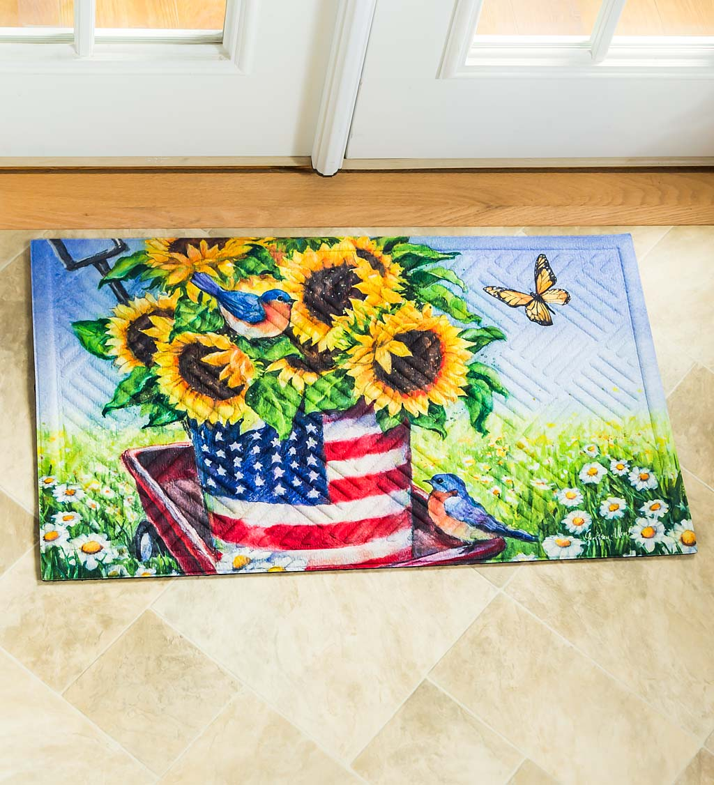 Americana Sunflower Wagon Embossed Mat