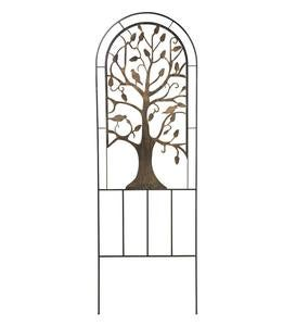 Metal Arched Garden Trellis with Tree of Life Design
