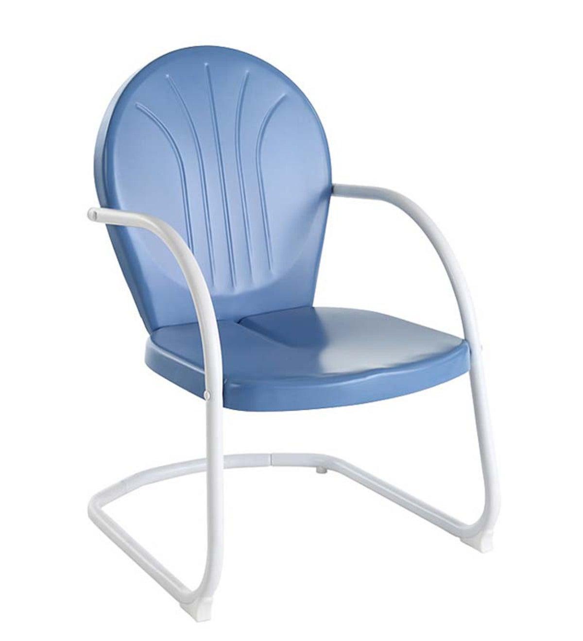 Griffith Retro Metal Lawn Chair   Blue