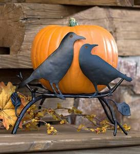 Halloween Pumpkin Holder with Ravens On Branch