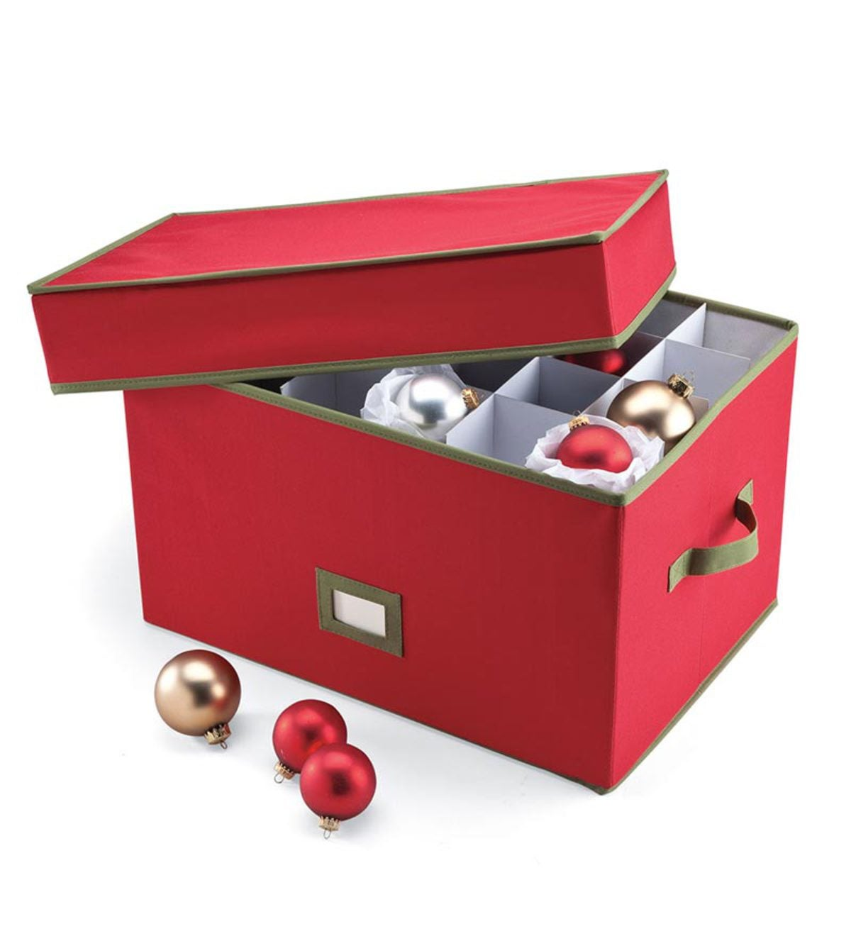 Heavy-Duty Polyester Holiday Ornament Storage Box With ...