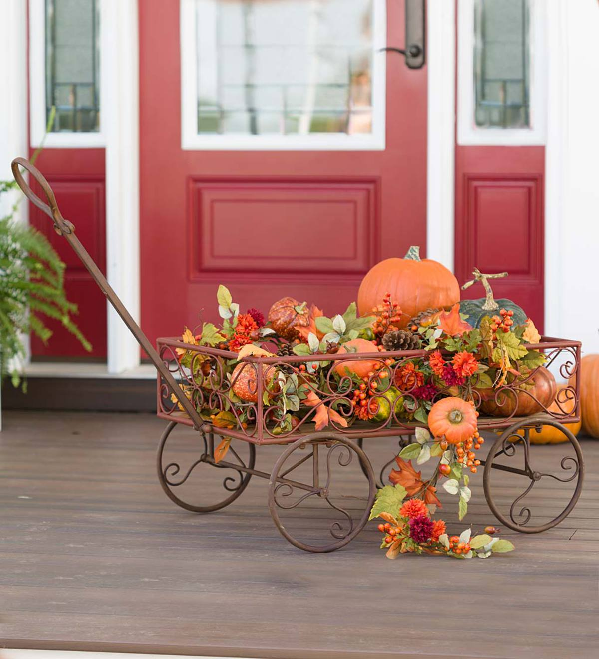 Vintage Metal Garden Wagon Accent