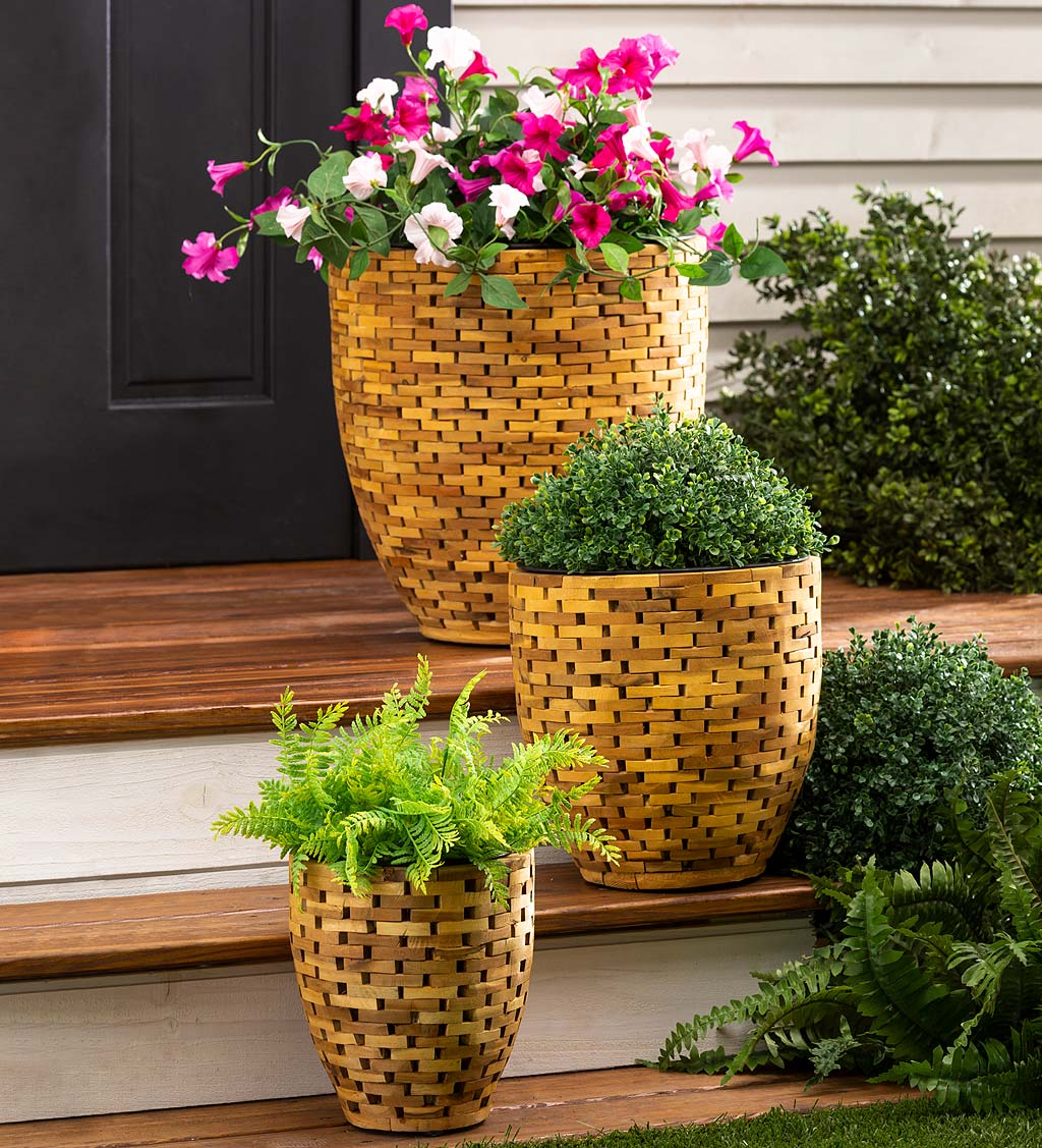 Recycled Acacia Wood Planters, Set of 3