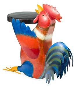 Colorful Folk Art Rooster Metal Side Table