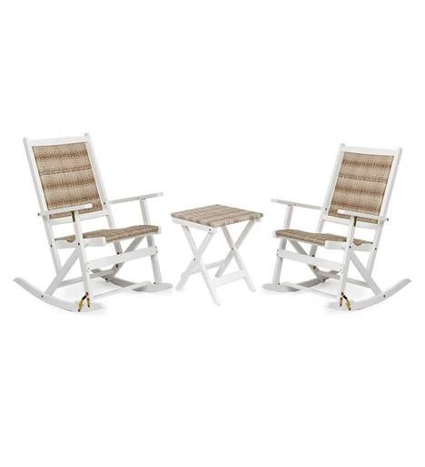 Claytor Folding Eucalyptus Outdoor Furniture, Two Rockers and Side Table