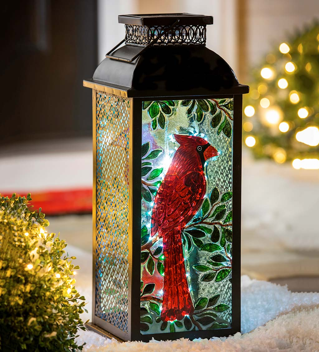 Painted Glass and Latticed Metal Cardinal Solar Lantern