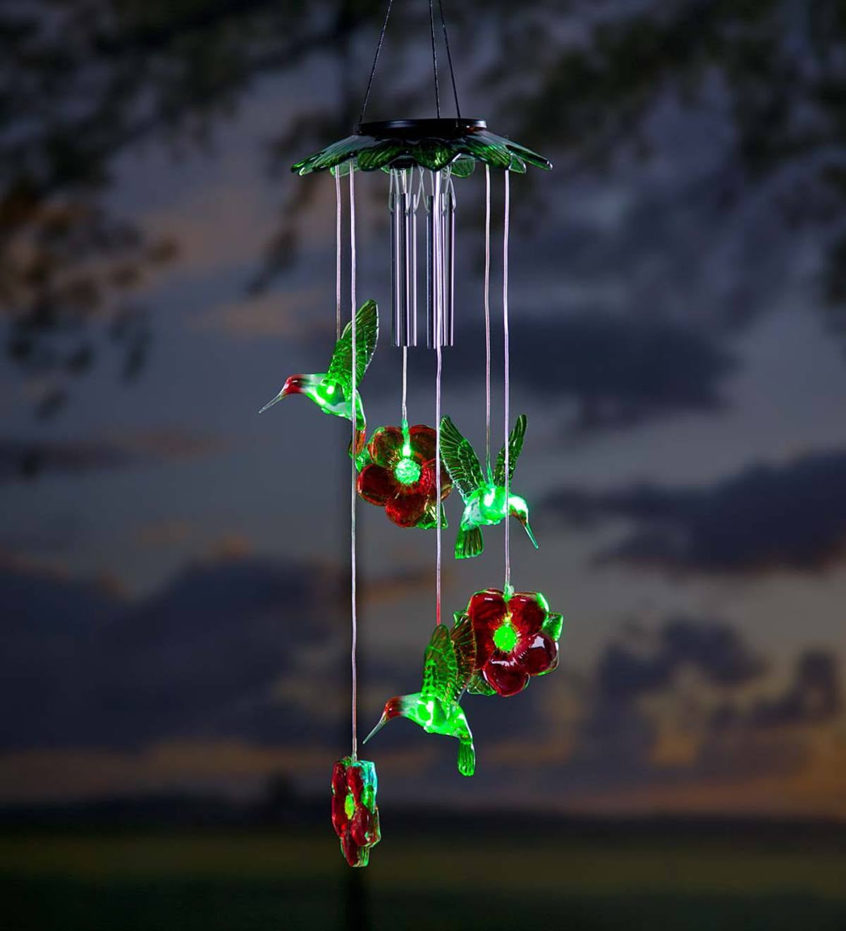 Solar Hummingbirds Mobile With Wind Chime