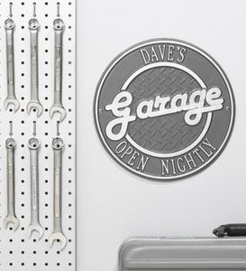 Personalized Round Retro Garage Sign In Cast Aluminum - Black