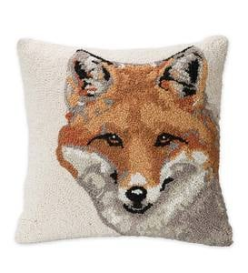 Hand-Hooked Wool Throw Pillow with Fox