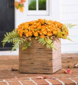 Rustic Faux Wood Crate Planters
