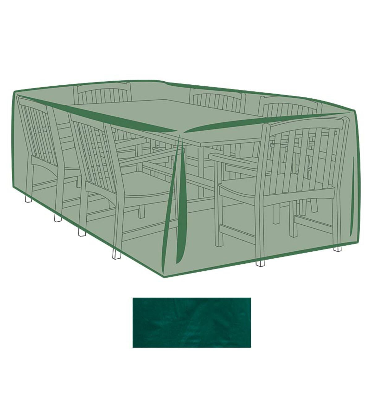 Outdoor Furniture Cover For Extra-Large Rectangle Table and Chairs - Green