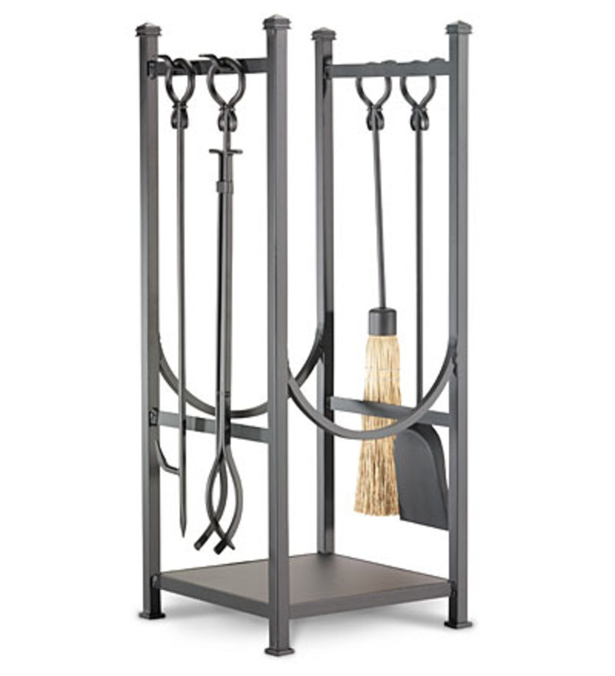 Kindling Rack With Fireplace Tools - Black