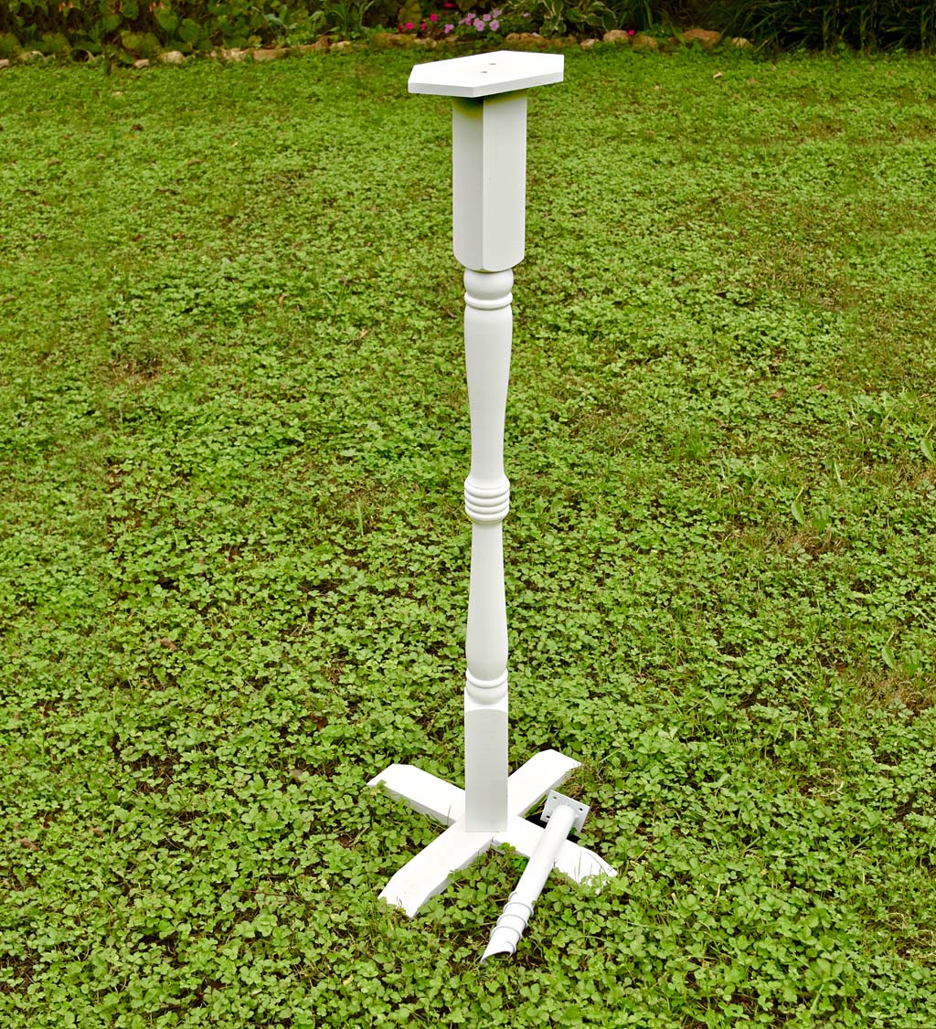 Turned Wood Pedestal Pole For Birdhouse/Feeder with Ground Auger