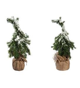 Snow Dusted Faux Trees in Burlap, Set of 2