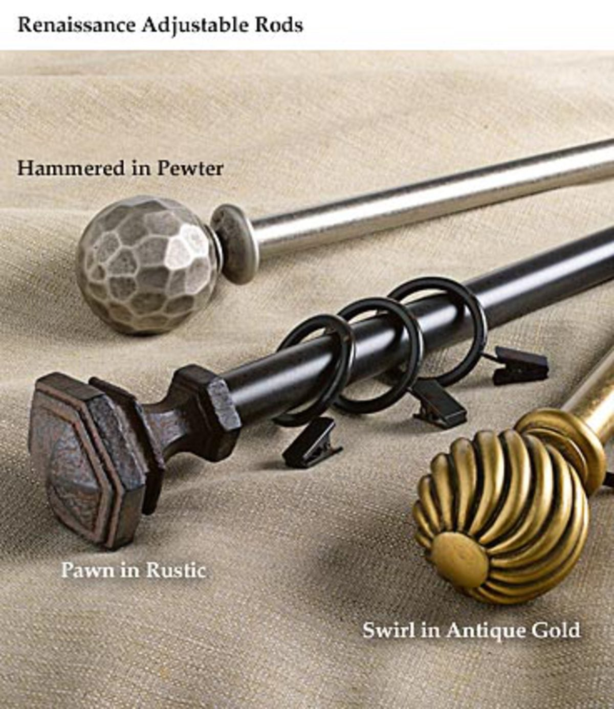 "28""- 48""Adjustable Rod and Finial Set in Gold, Pewter or Rustic Finishes - GOLD - FLUTED"