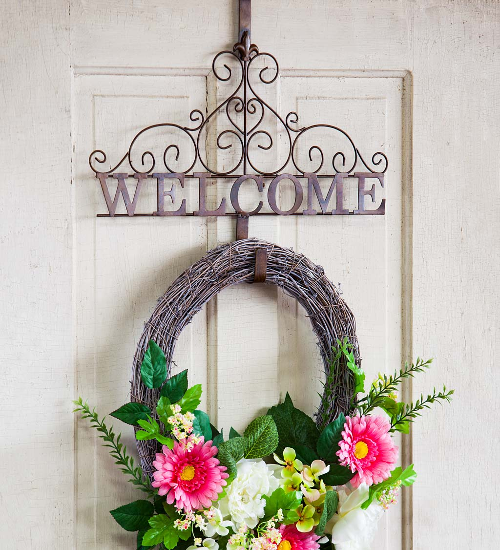 Green and White Copper  Bronze Fall  Autumn Front Door Welcome Wreath Featuring a Patterned Bird