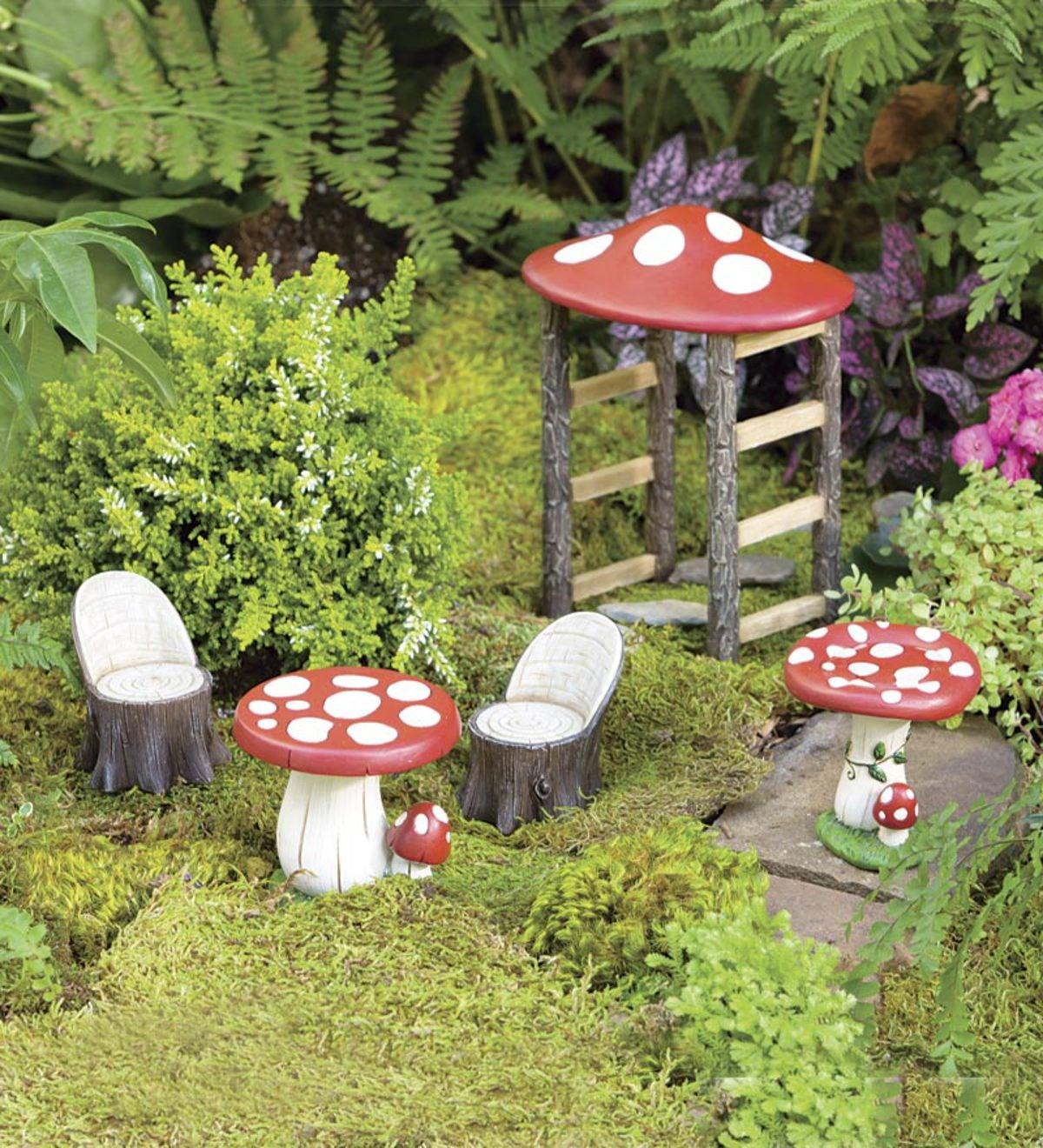 Edible Landscaping And Fairy Gardens: Miniature Fairy Garden Mushroom Furniture Set