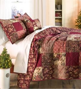 King Cranberry Floral Patchwork Quilt Set