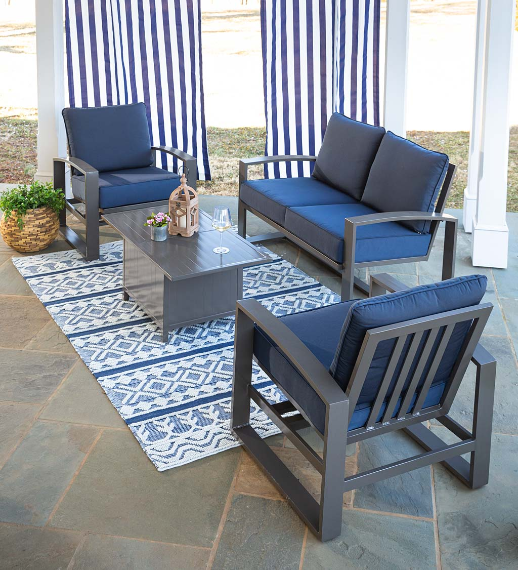 Deep Seat Lounge Furniture with Cushions and Hidden-Cooler Coffee Table, 4-Piece Set