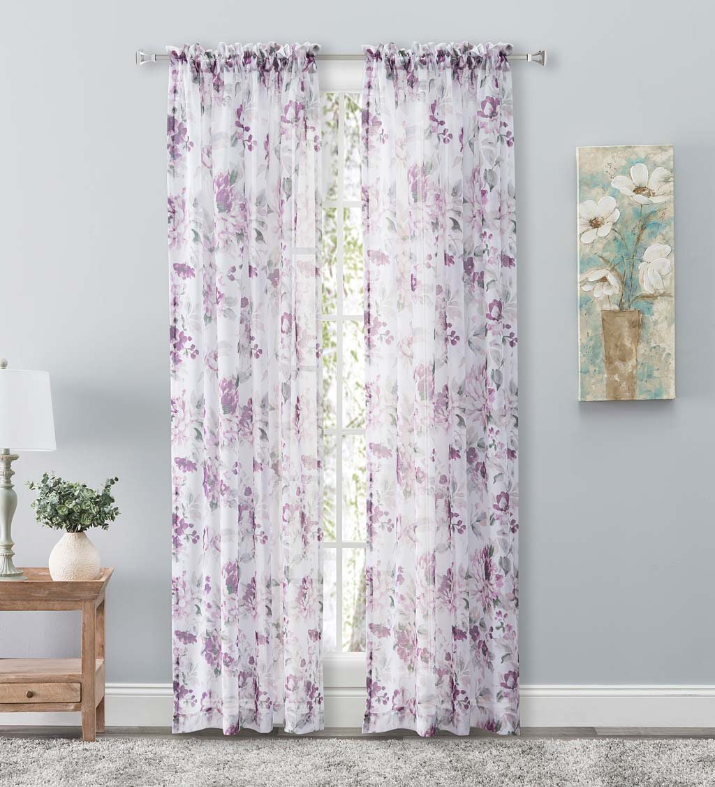 Whimsical Sheer Rod Pocket Panel Curtains and Valance