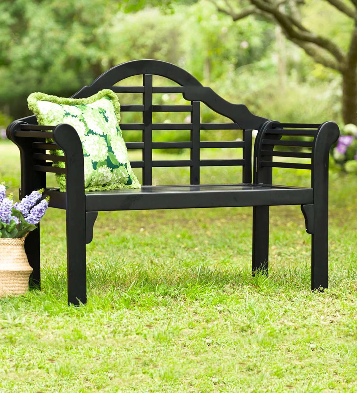 Lutyens Wood Garden Bench Black Plowhearth