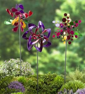 Mini Pinwheel Garden Stakes, Set of 3