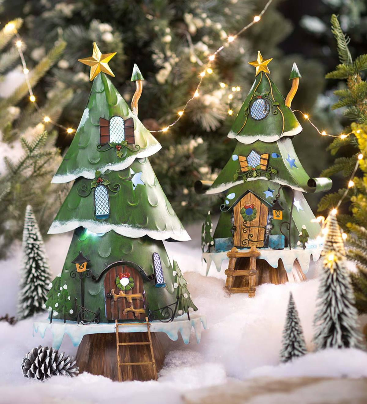 Miniature Fairy Garden Lighted Christmas Tree House