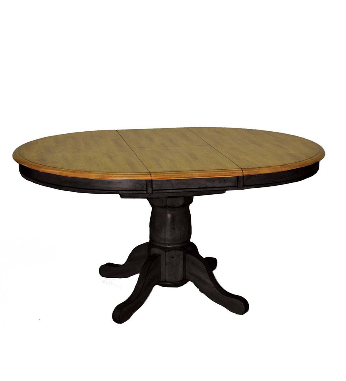 Yorkshire Rustic Oak Pedestal Dining Table Black